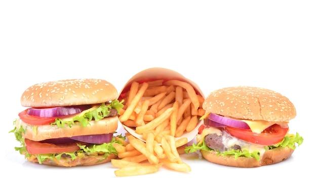 Hamburger op een witte achtergrond