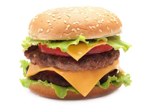 Hamburger op een witte muur