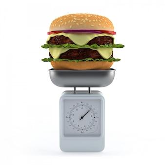 Hamburger op weegschaal