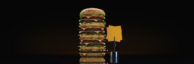 Hamburger toren 3d-rendering