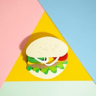 Hamburgerreplica op kleurrijke achtergrond