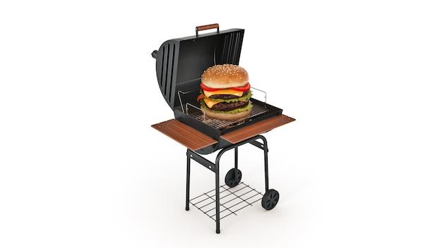 Hamburgers koken op grill met vlammen 3d-rendering
