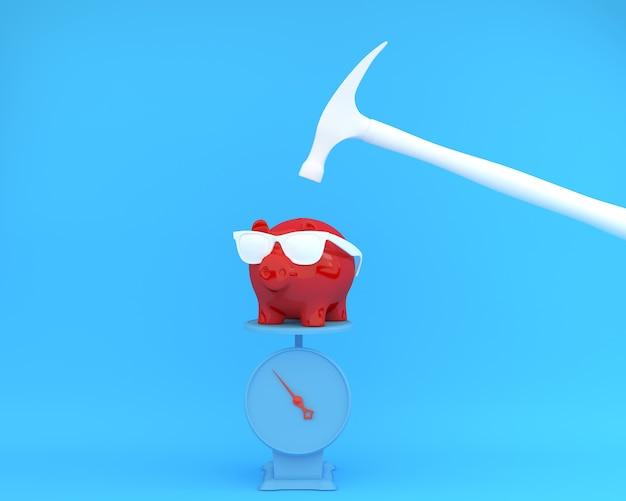 Hamer die boven een rood van een spaarvarken is opgeheven