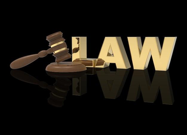 Hamer justitie en wet op zwarte achtergrond