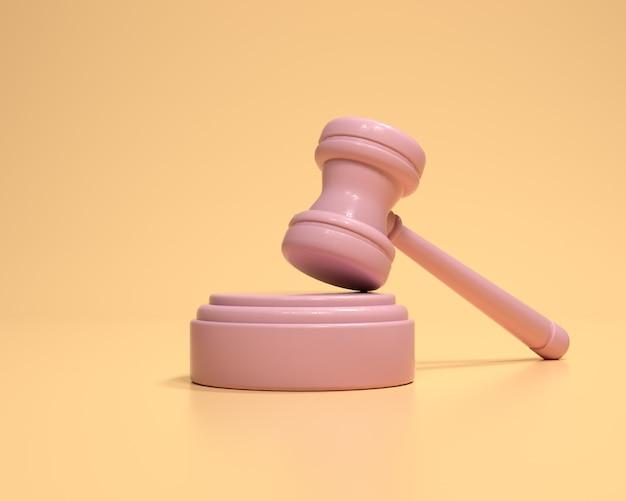 Hamer op gele achtergrond. veiling rechtbank hamer bod autoriteit symbool, wet concept. 3d render illustratie