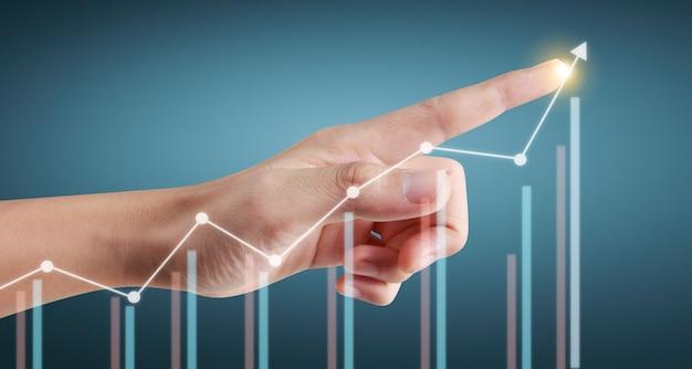 Hand aanraken van grafieken van financiële indicator en boekhoudkundige markteconomie analyse grafiek