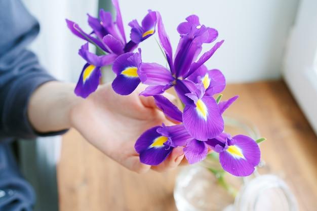 Hand aanraken van irissen in een vaas op vensterbank