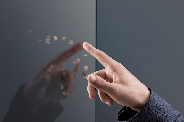 Hand aanraken van onzichtbaar scherm in pixelverspreidingsstijl