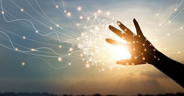 Hand aanraken van wereldwijde netwerkverbindingen innovatieve technologie in wetenschap en communicatie