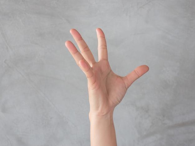 Hand actie gebaar op grijze achtergrond