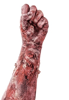 Hand bedekt met bloed met gebalde vuist, zombiehand die uit de grond komt, geïsoleerd wit oppervlak.