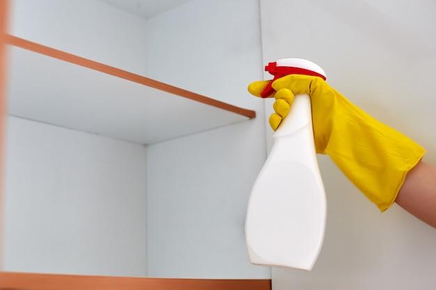 Hand bespuitend pesticide op een kakkerlak thuis