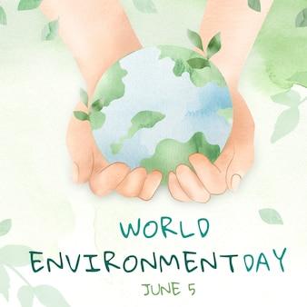 Hand cupping wereld met wereld milieu dag tekst in aquarel