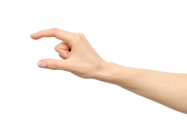 Hand die geïsoleerd groottegebaar toont