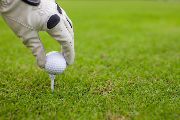Hand die golfbal plaatsen op t-stuk over mooie golfcursus met groen gras
