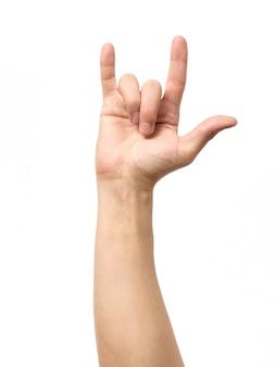Hand die het gebaar van duivelshoornen geeft