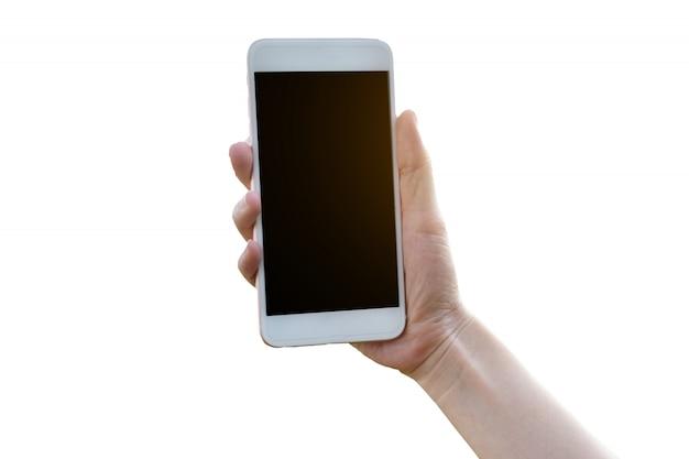 Hand die mobiele slimme telefoon op witte achtergrond houdt