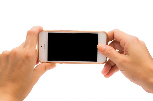 Hand die mobiele telefoon met behulp van die foto neemt