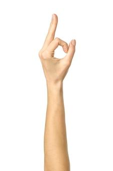 Hand die ok gebaar geïsoleerd toont