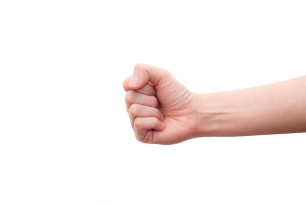 Hand die verkeerd vuistgebaar toont dat op witte achtergrond wordt geïsoleerd.