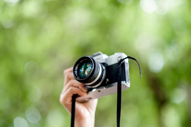 Hand en camera schoten fotografie concept
