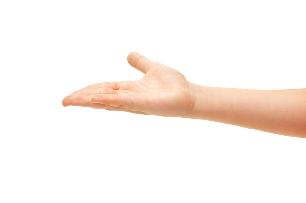 Hand gebaren van kinderen op witte achtergrond