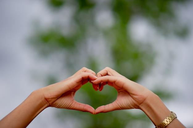 Hand gemaakte hartvorm voor gehouden van degenen op de dag van liefde liefdedag