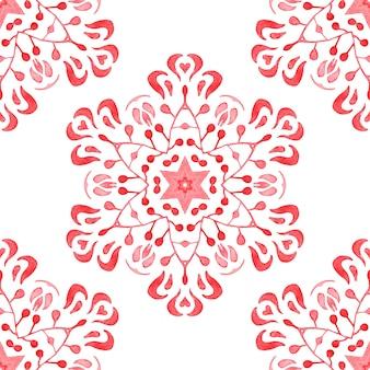 Hand getekend aquarel artistieke sneeuwvlok rode sier damast. kan worden gebruikt als kerstkaart of achtergrond, stof en keramische tegels, tafelgerei