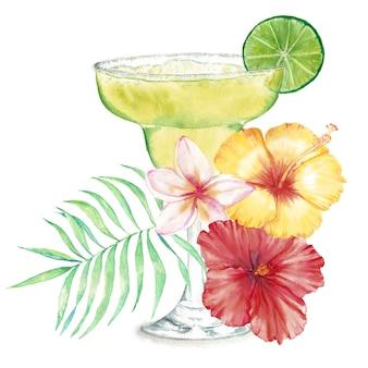 Hand getekend aquarel illustratie van zomer verse cocktail met bloemendecoratie en limoen.