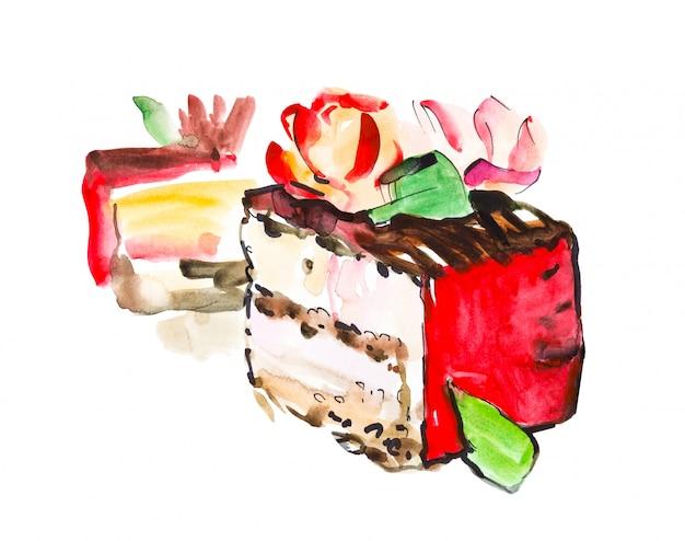 Hand getekend aquarel plakje romige taart met bloemen, geïsoleerde cake illustratie op wit
