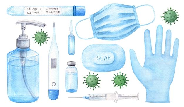 Hand getekend coronavirus bescherming aquarel set.
