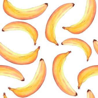 Hand getekend naadloos patroon met rijpe gele bananen