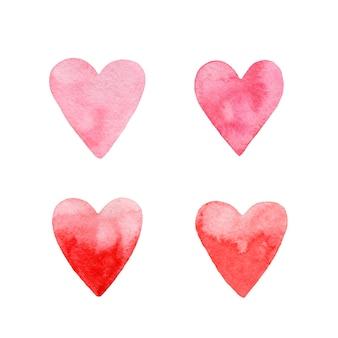 Hand getekend roze aquarel harten