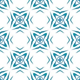 Hand getekend tropische naadloze grens. blauw geweldig boho chic zomerontwerp. tropische naadloze patroon.