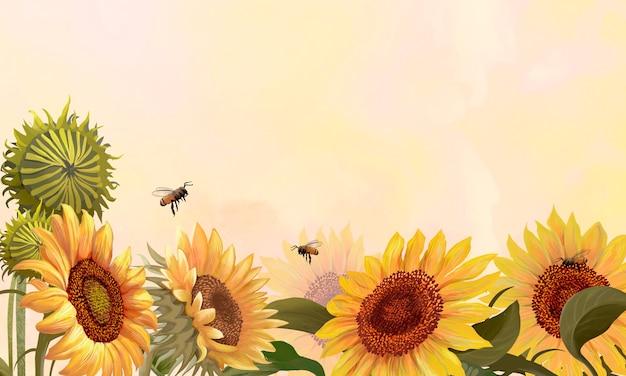 Hand getekend zonnebloem op een gele achtergrond