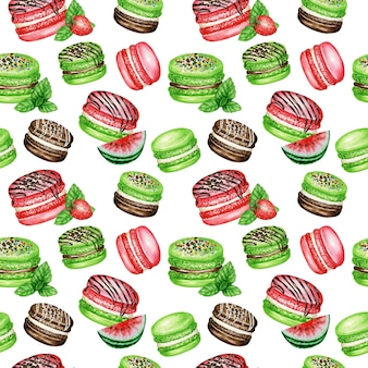 Hand getekende aquarel franse macaron taarten naadloze patroon. chocolade, vanille, fruit gebak dessert op witte achtergrond kleurrijke macaroon koekjes, watermeloen aardbei munt zoete stof textuur.