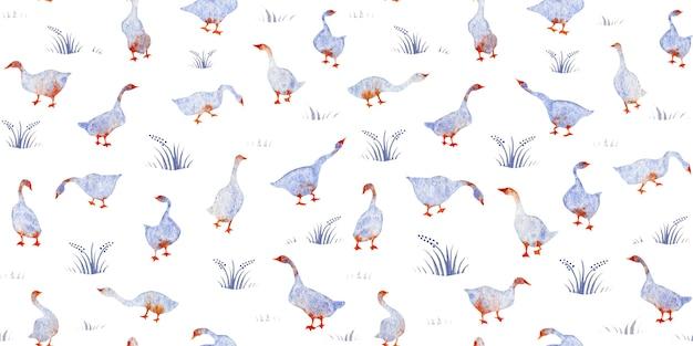 Hand getekende aquarel naadloze patroon ganzen zwaan gras geïsoleerd op een witte achtergrond kids design
