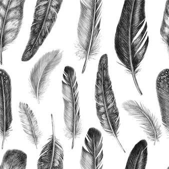 Hand getekende mode naadloze patroon met veren vintage achtergrond