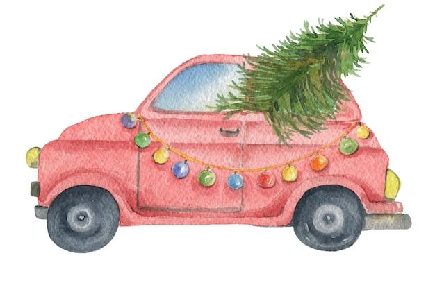 Hand getekende rode auto met kerst spar en slinger in aquarel geïsoleerd op een witte achtergrond perfect...