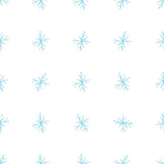 Hand getrokken blauwe sneeuwvlokken kerstmis naadloze patroon. subtiele vliegende sneeuwvlokken. nieuwsgierige handgetekende sneeuwbekleding. waardevolle decoratie van het vakantieseizoen.