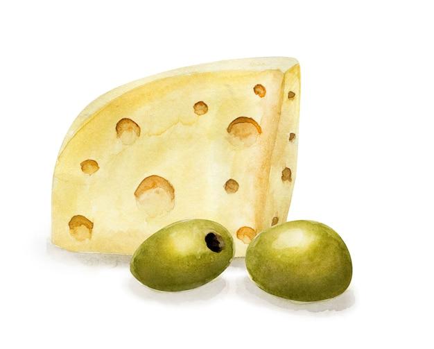 Hand getrokken emmentaler kaas en olijven. vegetarisch gezond eten. aquarel illustratie. sjabloon voor kaart, menu en scrapbooking