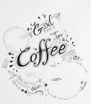 Hand getrokken ontbijt belettering typografie