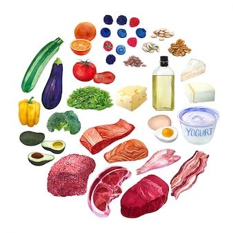 Hand getrokken verschillende groenten, vlees, vis, kaas en noten voor het ketogeen dieet of koolhydraatarm dieet.