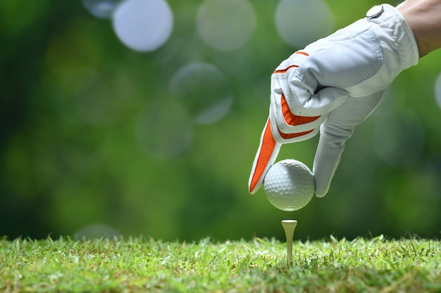 Hand houden golfbal met tee op golfbaan