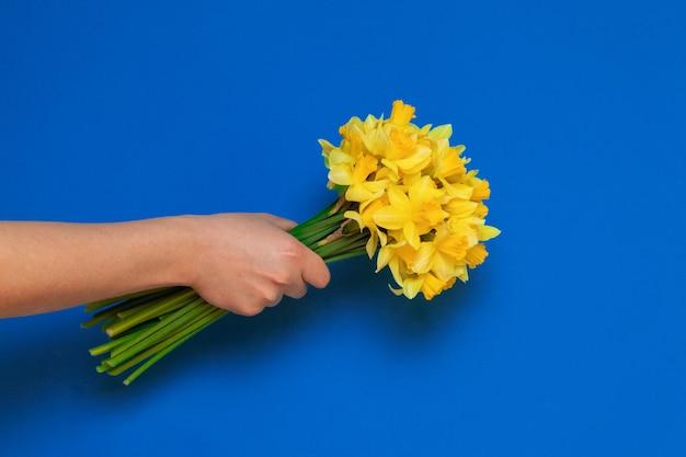 Hand houdt een boeket gele narcis bloemen