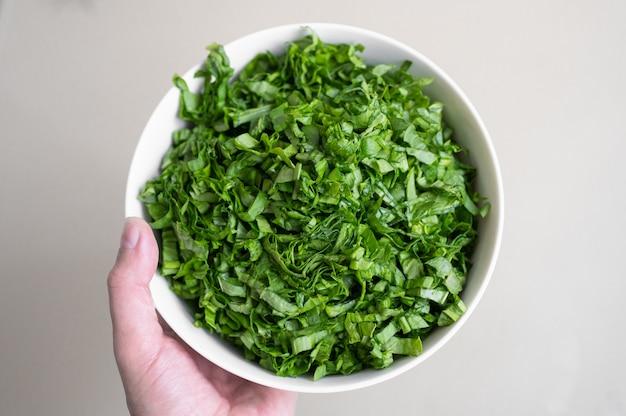 Hand houdt een bord met groenen. concept van vegetarisme.