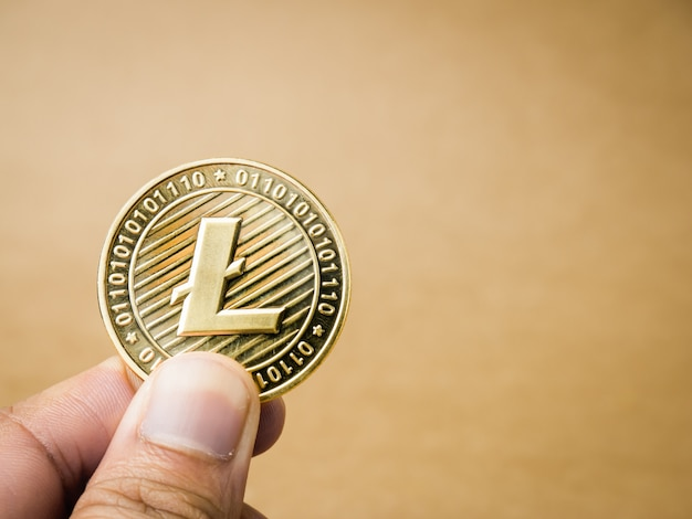 Hand houdt gouden litecoin.