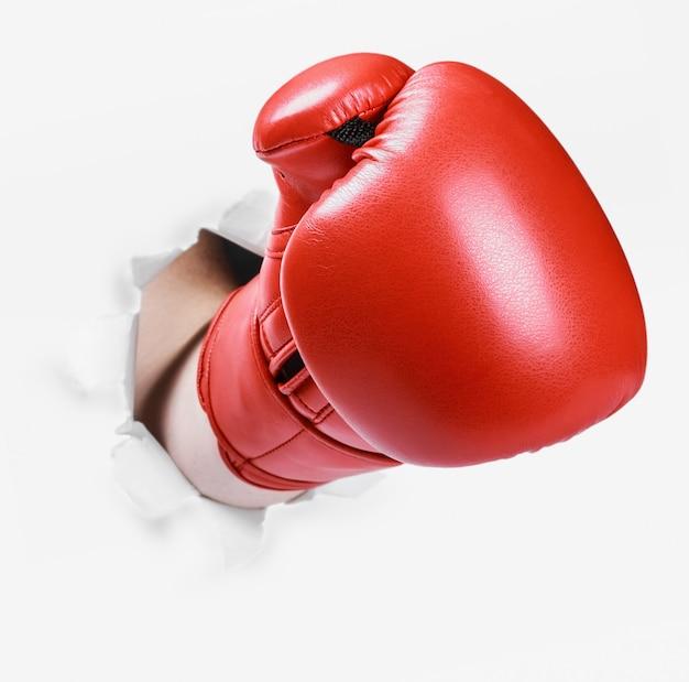 Hand in een rode bokshandschoen brak door de papieren muur