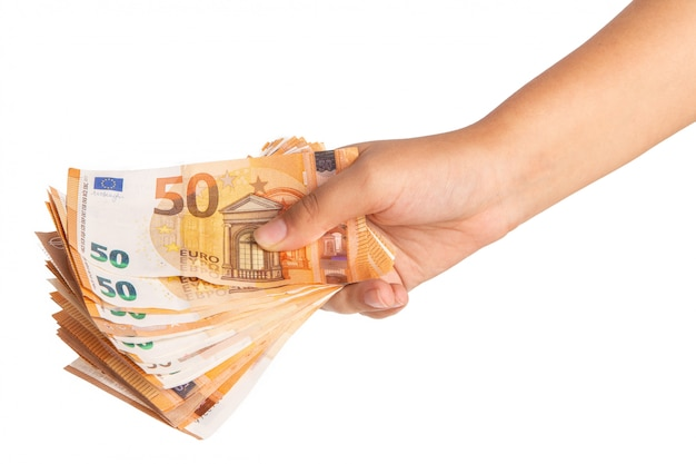 Hand met bankbiljetten
