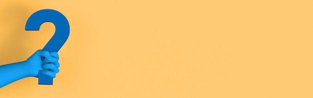 Hand met blauw vraagteken op gele achtergrond met ruimte om tekst te plaatsen. 3d illustratie.